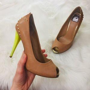 Donald J. Pliner Tan Leather Stud Peep Toe Heels
